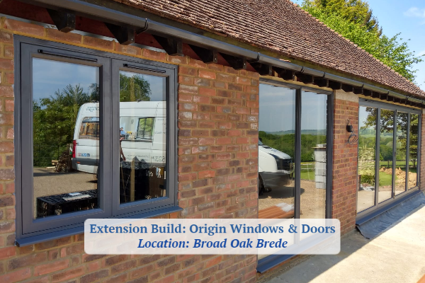 Extension with Origin windows and bifold doors Broad Oak Brede Installation