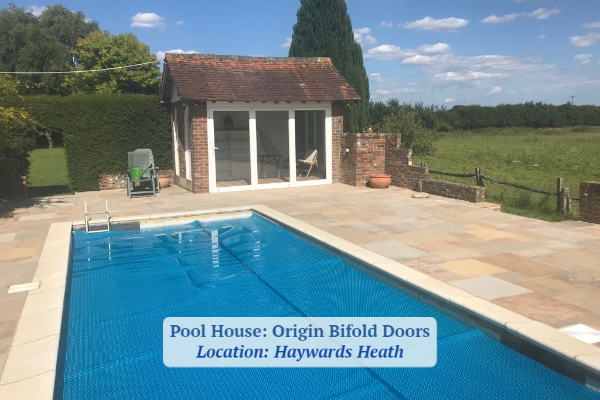 Origin bifold door installation in Pool House Haywards Heath